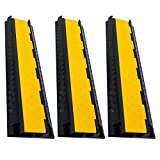 RK Rubber Cable Protectors, Dual Channel Cable Protector | Rubber Speed Bump (3 Pack)