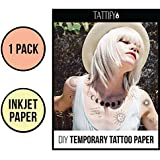 Tattify DIY Temporary Tattoo Paper Inkjet and Laser Printers, Printable Long Lasting Custom Tattoos At Home, Sticker Transfer Sheets With Clear Instructions