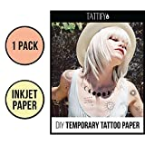 Tattify DIY Temporary Tattoo Paper 1 Pack For Inkjet Printers, Printable Long Lasting Custom Tattoos At Home, Sticker Transfer Sheets With Clear Instructions, Waterproof And Sweat Resistant