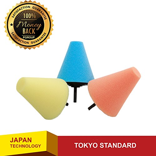 JapanX - Car Sponge - 3 Pcs Hot Burnishing Foam - Cone Shaped Car Wash Sponge - Chenille Microfiber Duel Scrubber with Built in Hand Strap – Absorbent and Scratch - Glass Home Car From How To At Remove Scratches