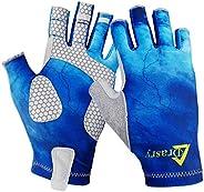 Drasry UV Protection Fishing Fingerless Gloves Men Women UPF 50+ SPF Gloves for Fishing Kayak Paddling Hiking