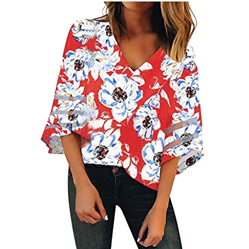 Zackate Women's V Neck Mesh Panel Blouse 3/4 Bell Sleeve Loose Top Shirt Open Front Cardigan (Cute Winter Sayings For A Bulletin Board)