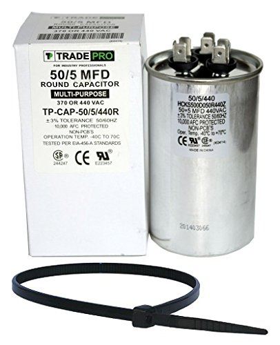 TradePro 50+5 uf MFD 370 or 440 Volt Dual Run Round Capacitor Bundle TP-CAP-50/5/440R Condenser Straight Cool/Heat Pump Air Conditioner and Zip Tie