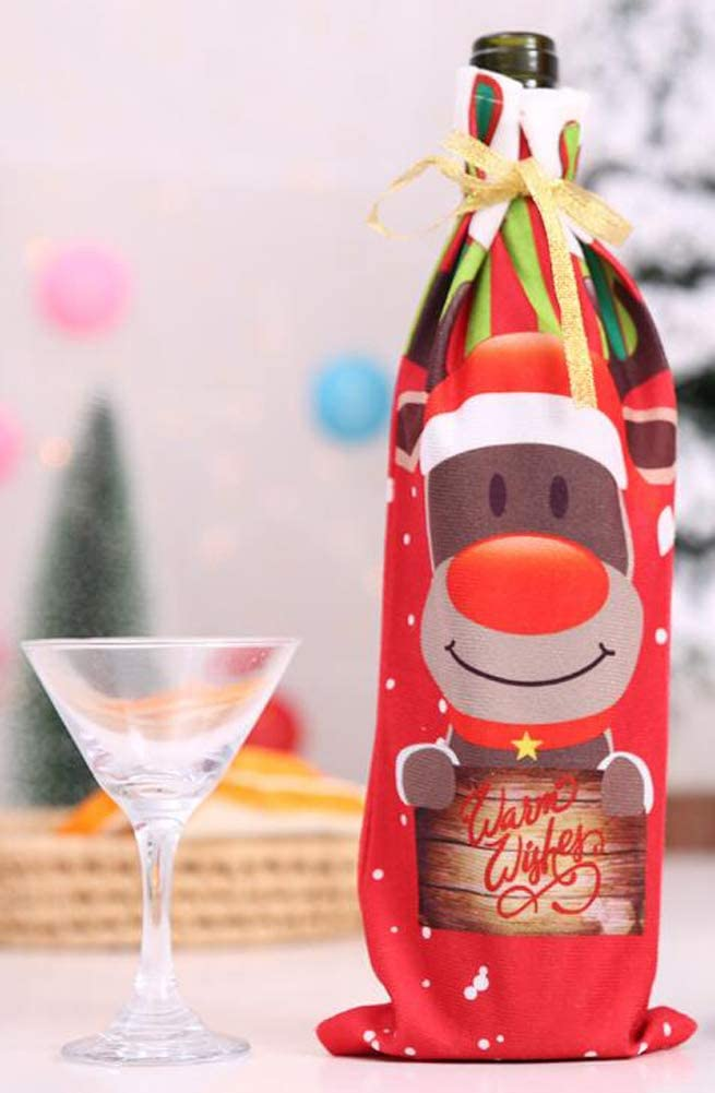 D Octubre Elf Navidad Rojo Botella de Vino Bolsa de Vino Bolsa de Regalo Bolsa de decoraci/ón