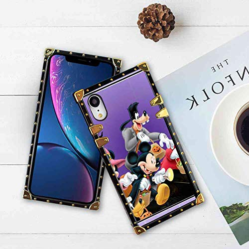 Square Edge Case Cover Compatible with iPhone Xr 6.1in Halloween Mickey Mouse and Minnie Mouse Goofy Donald Duck Pluto Disney Halloween Wallpaper]()