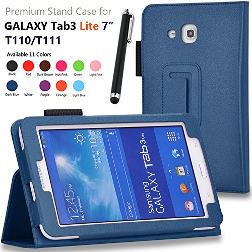 Galaxy Tab 3 Lite 7.0 / Galaxy Tab E Lite 7.0 Case - SHEROX Premium Folio Leather Case for Samsung Galaxy Tab 3 Lite 7.0 / Galaxy Tab E Lite 7.0 Inch Tablet, With Stylus Touch Pen (Dark Blue)