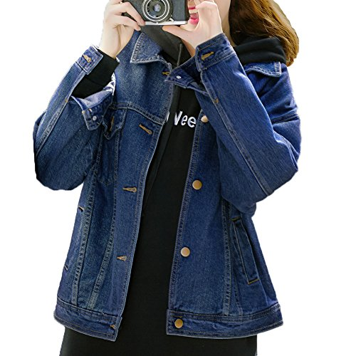 Loose Women Blue Washed Pocket Button Boyfriend Denim Jacket Coat (XL-Chest 45.5'', Dark Blue) Button Denim Jacket