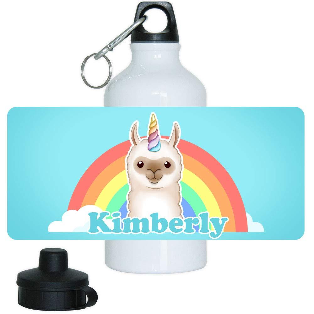 Eurofoto Trinkflasche mit Namen Kimberly und Motiv mit Lama-Einhorn für Mädchen   Motiv-Trinkflasche   Kinder-Aluflasche