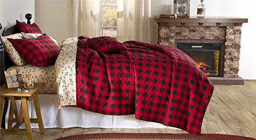 Plow & Hearth 92655-RD Buffalo Plaid Full/Queen Quilt, - Sham Christina Standard