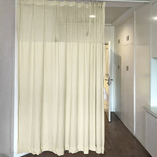 10ft Wide x 8ft Tall Pinch Pleated for Hospital Medical Clinic Spa Lab Cubicle Curtain Divider Privacy Screen, Beige Ivory, (Track Hardware Not Included) by ChadMade