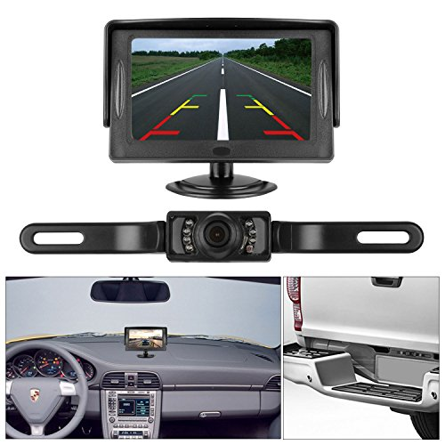 DohonesBest Backup Camera and 4.3 Display Monitor Kit only need Single power source and Rear view or Fulltime View optional Waterproof license plate Rear view camera Night Vision for Car Vehicle (Car Security Camera Night Vision)
