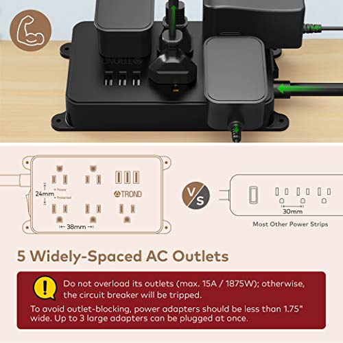Power Strip with USB, TROND Surge Protector Flat Plug with 5 Widely-Spaced Outlets, ETL Listed, 1300J, Wall Mountable 5ft Extension Cord, for Kitchen Garage Laundry Room Behind TV, Black