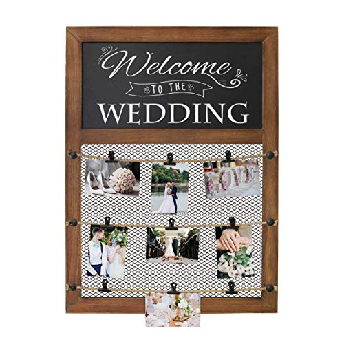 Bulldog Photo Frame - Rustic Wall Mounted Picture Display Frame With Chalkboard Sign & 9 Bulldog Picture Clips - 20x30 Inch Wall Chalkboard With Picture Grid For Displaying picture collage. Photo Board for polaroids & more