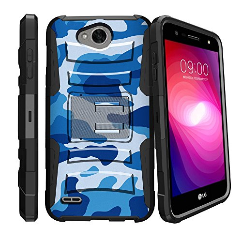 MINITURTLE Clip Armor Series Clip Combo Hybrid Holster & Kickstand Case w/ Ocean Sea Navy Blue Camo For [ LG Fiesta LTE | LG X Charge | LG X Power 2 ]Blue (Watch Baby Seal)