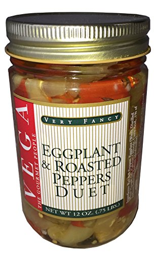 Case of 3 Jars 12 oz Pickled Eggplant with Roasted Peppers made in Rhode Island