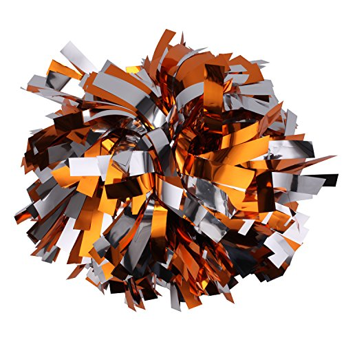 ICObuty Metallic Cheerleader Cheerleading Pom Poms 6 inch 1 Pair (Orange/Silver)