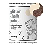 Hemway Magnolia Chalk Paint (with Bronze Glitter) Sparkle Matt finish Wall and Furniture Paint 1L/35oz Shabby Chic Vintage Chalky Crystal (25 Glittery Colours Available)