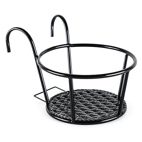 UPC 782123003204, Metal /Iron Art Hanging Baskets Flower Pot Holder - Great for Patio Balcony Porch or Fence ,White, Black (Black)