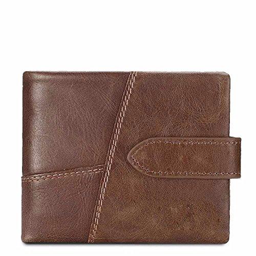 wallet Men's leather clasp wallet C wallet NHGY short Brown zero zipper p5Hxwxq
