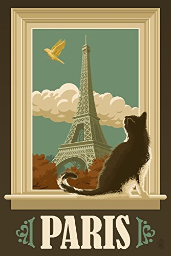 Paris, France - Eiffel Tower and Cat Window (9x12 Art Print, Wall Decor Travel Poster)