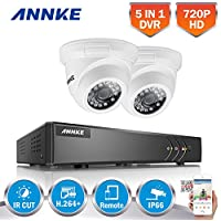 ANNKE 720P Security Camera System 4CH 1080P Lite DVR and (2) 1280TVL 1.0MP Outdoor Weatherproof Cameras,65ft Night Vision with IR Cut build in, Quick Remote Access via Smartphone--No HDD
