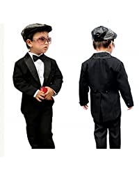 GSCH Boy's 5Pcs Formal Tuxedo Suit With Tail Jacket Shirt Vest Pants and Bowtie