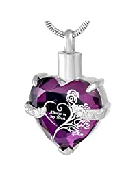 constantlife Crystal Heart Memorial Jewelry Stainless Steel Cremation Urn Pendant Necklace