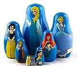 Seven Princesses Matryoshka Babushka Wooden Nesting Stacking Dolls Frozen Elsa Cinderella Snow White Ariel Rapunzel Aurora Merida Disney Style, 13.5cm