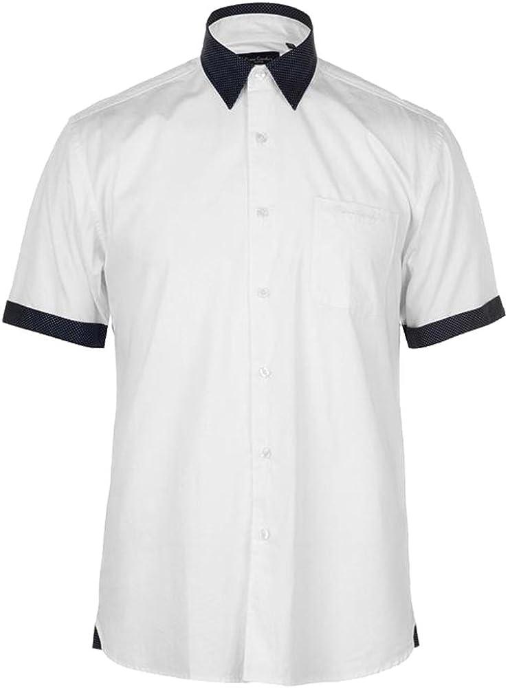Pierre Cardin Hombre Fashion Camisa de Manga Corta Blanco/Azul Marino XL: Amazon.es: Ropa y accesorios