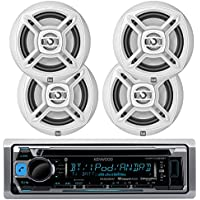 Kenwood Marine Boat Bluetooth CD MP3 Player USB iPod iPhone Input Pandora AM/FM Receiver 4 x 6.5 Waterproof Speakers, Audio Kit (White)