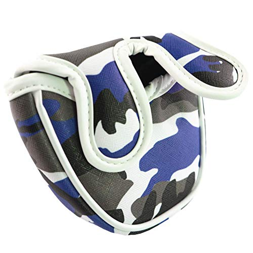 ANNIU Golf Putter Cover Mallet Mini Golf Headcover Club Standard Size Golf Mallet Putter Cover Golf Accessories for Pusher Sleeve Semi-Circular and Camouflage Blue