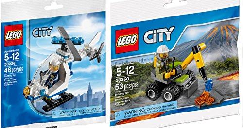 Lego City Police Helicopter 30226 + Volcano Jackhammer Set 30350 Mini figure Set LEGO Polybag edition Building Set