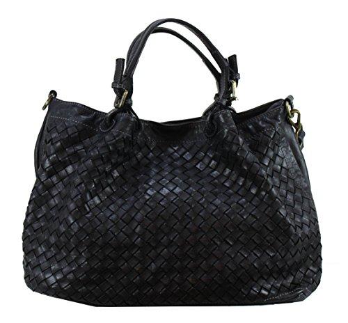 Bozana Bag Rene nero Italy Designer Damen Handtasche Schultertasche Tasche Schafsleder Shopper Neu