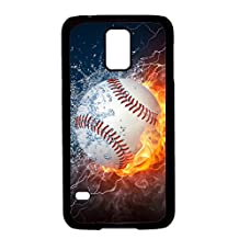 Galaxy S5 Case,BWOOLL Burning Baseball Fire and Water Hard Plastic Protective Case for Samsung Galaxy S5 - Black