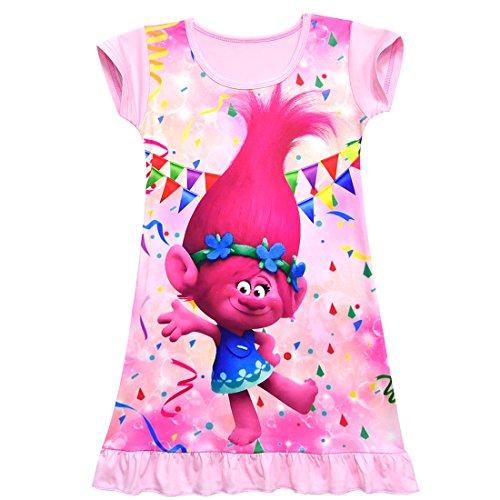 ZHBNN Trolls Toddler Little Girls Nightgown Cartoon Pajamas Princess Dress(Pink,140/9-10Y)]()