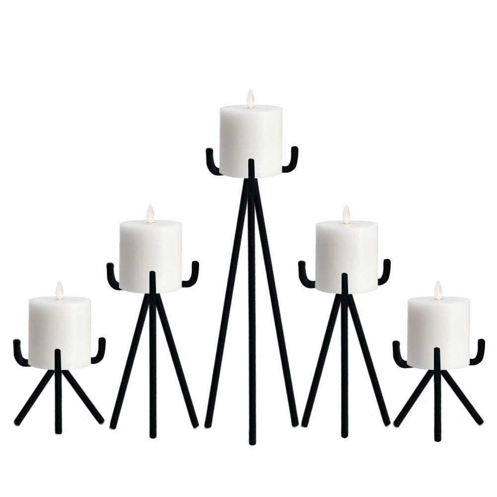 smtyle Candle Holders Set of 5 Candelabra Centerpieces Plate for Tables or Fireplace with Black Iron Ideal for Pillar LED Candles
