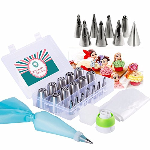 Russian Wedding Cake - Russian Piping Tips Set-Cake Decorating Supplies-32 Pcs Set (18 Icing Tips - 11 Pastry Bags - 2 Couplers - Storage box) Best Quality Russian Tips Set With Wedding Cake Tips