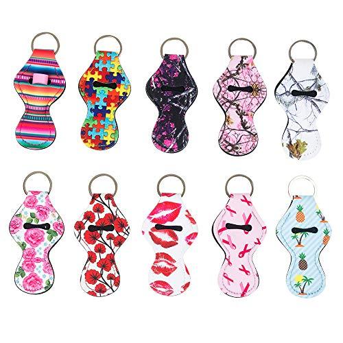 der Keychain, 4YOUALL Neoprene Chapstick Holder Lip Balm Keychain Holder for Lanyard (10 Pack, Fruit Kiss) ()