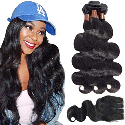 Angie Queen Brazilian Virgin Hair Body Wave 3 Bundles with Closure 100% Unprocessed Human Hair Weave With Lace Closure Three Part Natural Black(14 16 18+12 closure) from Angie Queen