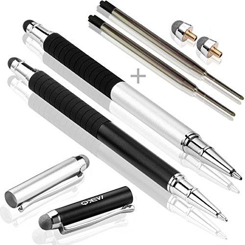 MEKO 3 in 1 Stylus Pen Eingabestift mit 2x Kugelschreiber,2x Fiber Tipps (Schwarz / Silber)