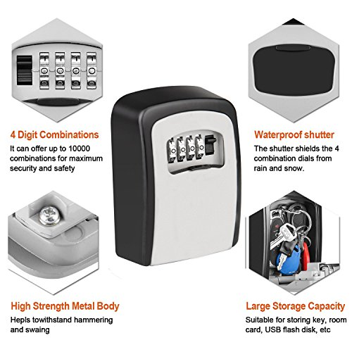 KIPRUN Key Storage Lock Box, 4-Digit Combination Lock Box, Wall Mounted Lock Box, Resettable Code (Circular) by KIPRUN (Image #3)