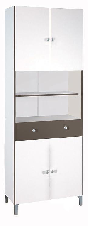 habeig Hochschrank 540 weiß Basalt Küchenschrank Küchenregal Schrank Küche  Buffet Regal