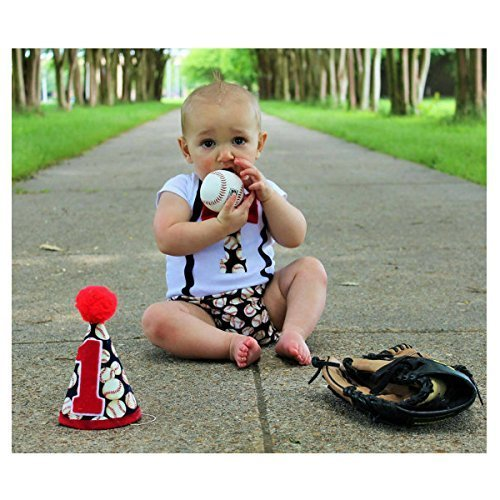 Baseball Cake Smash Suspender Onesie Boys First Birthday Outfit w/Optional Party Hat