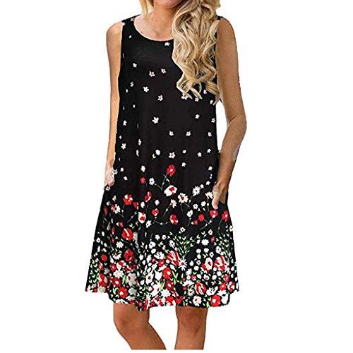 shijiazhuangxingxinjiaju Women Skirts for Work,Women Printing Sleeveless Mini Dress Princess Dress,Women's Fashion,Black,XL