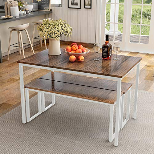 P PURLOVE 3Pcs Dining Table Set Wooden Kitchen Table and Two Benchs with Metal Legs, Brown