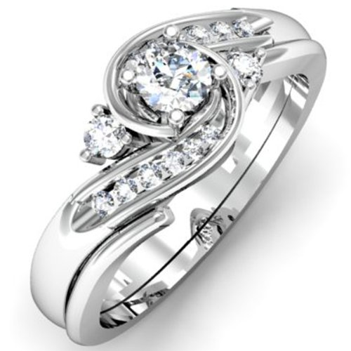 050 Carat ctw 10k Gold Round Diamond Ladies Swirl Bridal