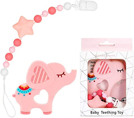 Pink Baby Pacifier Clip Holder for Unisex Baby with Nature Wooden ...