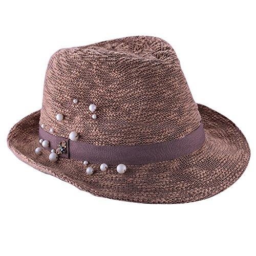 [iHomor Women's Summer Short Brim Straw Fedora Hat Beach Cap (Brown)] (Ganster Hat)