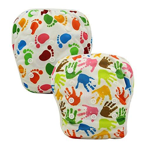 OHBABYKA Baby Reusable Washable Swim Diaper Pants Pool Cover, One Size (Footprints & Palm)