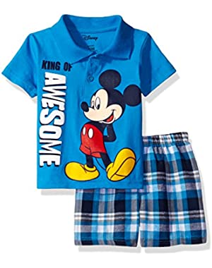 Disney Little Boys' Mickey Mouse Plaid Short Set with Polo Top